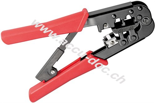 Crimpzange für Modularstecker, Schwarz-Rot - mit Zwangssperre und automatischer Entriegelung, Kabelschneider und Abisolierer