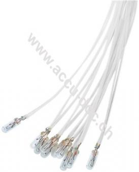T1¼ Subminiatur-Glühlampe, 0,48 W, 0.48 W, Weiß, 0.3 m - Weiß, 0,3 m Kabel, 12 V (DC), 40 mA