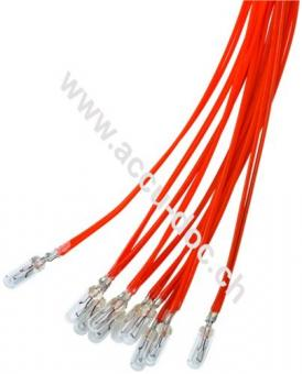 T1¼ Subminiatur-Glühlampe, 0,72 W, 0.72 W, Rot, 0.3 m - Rot, 0,3 m Kabel, 12 V (DC), 60 mA