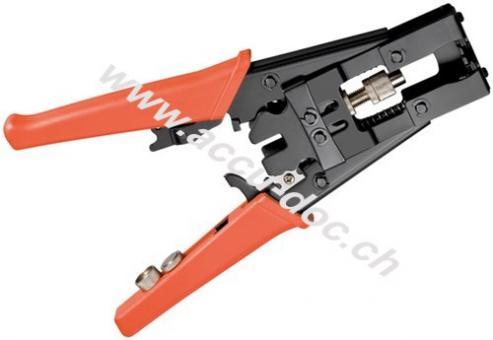 Crimpzange für F-, BNC-und RCA-Kompressionsstecker, Schwarz-Rot - mit Automatik-Stop, Zwangssperre und automatischer Entriegelung